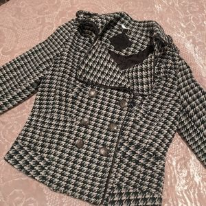 Houndstooth Green & Grey Cropped Coat